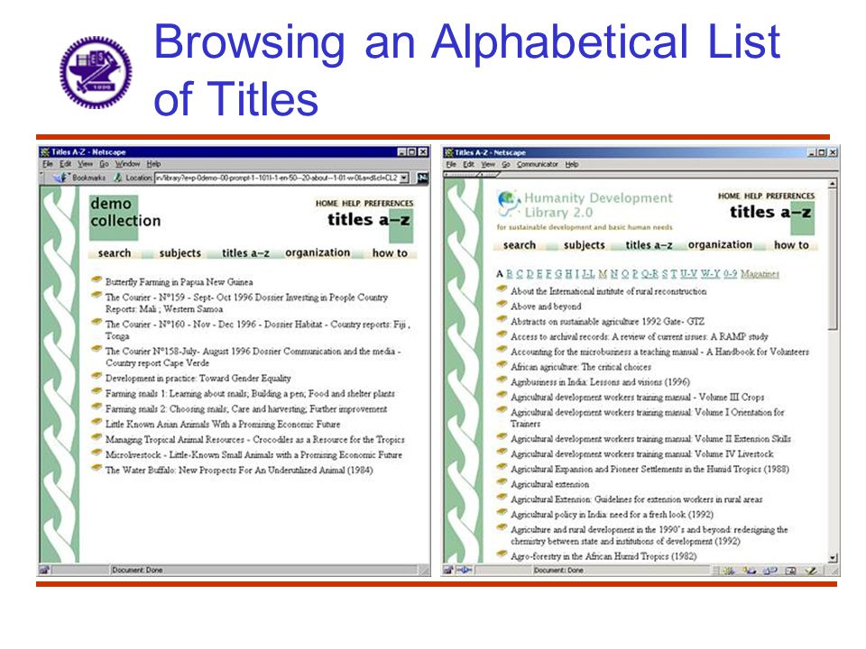 Browsing an Alphabetical List of Titles