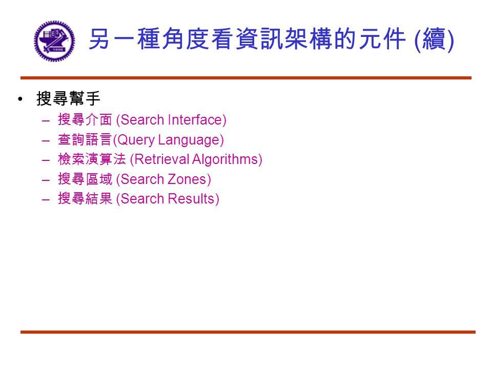 另一種角度看資訊架構的元件 ( 續 ) 搜尋幫手 – 搜尋介面 (Search Interface) – 查詢語言 (Query Language) – 檢索演算法 (Retrieval Algorithms) – 搜尋區域 (Search Zones) – 搜尋結果 (Search Results)