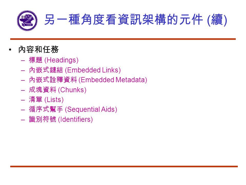 另一種角度看資訊架構的元件 ( 續 ) 內容和任務 – 標題 (Headings) – 內嵌式鏈結 (Embedded Links) – 內嵌式詮釋資料 (Embedded Metadata) – 成塊資料 (Chunks) – 清單 (Lists) – 循序式幫手 (Sequential Aids) – 識別符號 (Identifiers)
