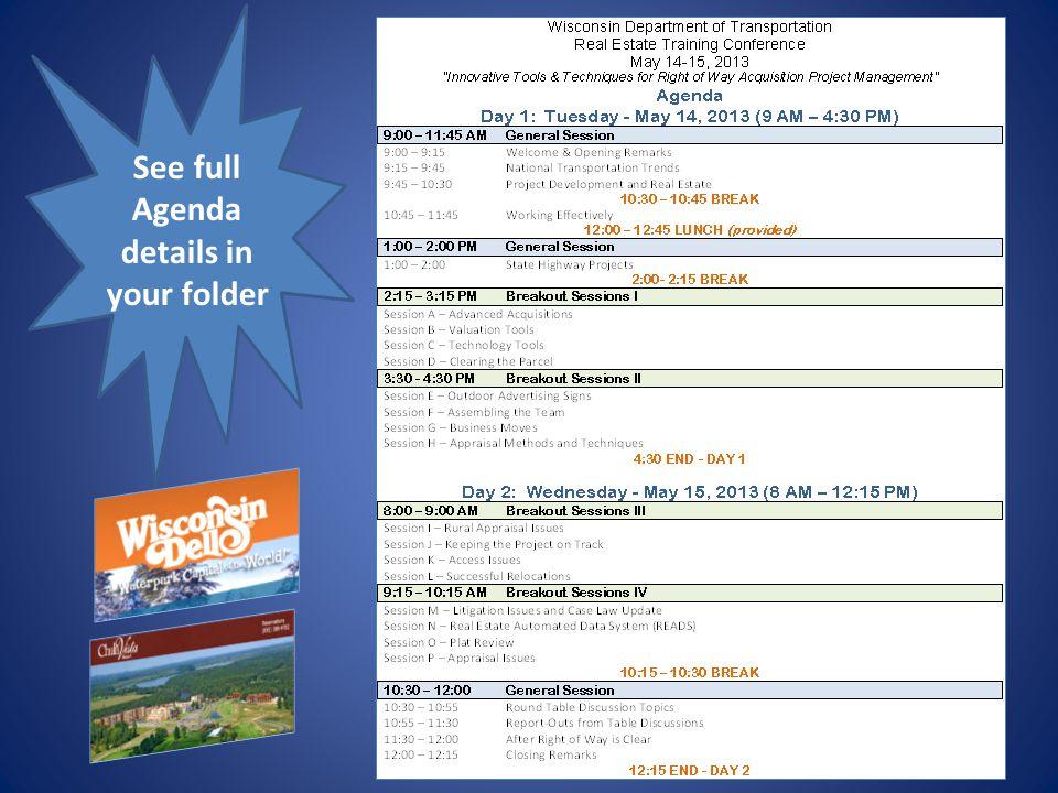 See full Agenda details in your folder