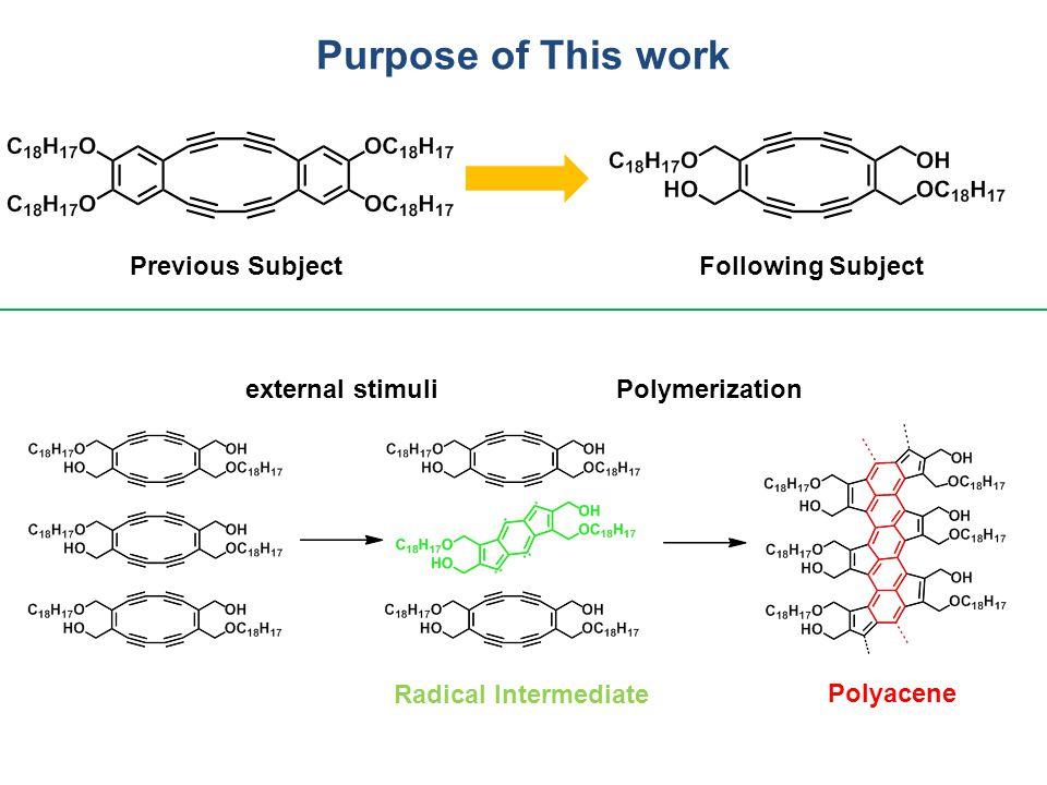 Purpose of This work external stimuliPolymerization Polyacene Radical Intermediate Previous SubjectFollowing Subject