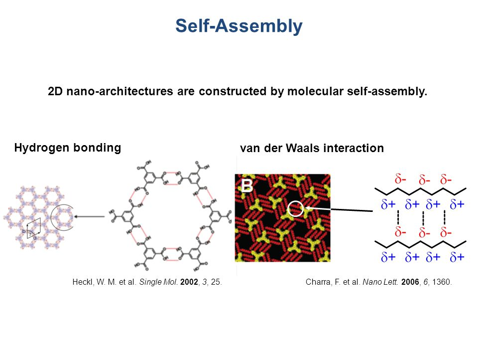 Hydrogen bonding Self-Assembly van der Waals interaction 2D nano-architectures are constructed by molecular self-assembly.