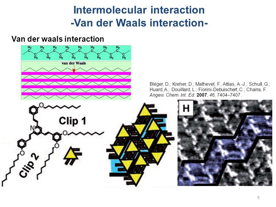 Intermolecular interaction -Van der Waals interaction- Van der waals interaction Bléger, D.; Kreher, D.; Mathevet, F.; Attias, A.-J.; Schull, G.; Huard, A.; Douillard, L.; Fiorini-Debuischert, C.; Charra, F.