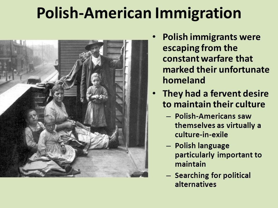 Polish-American Immigration Polish immigrants were escaping from the constant warfare that marked their unfortunate homeland They had a fervent desire to maintain their culture – Polish-Americans saw themselves as virtually a culture-in-exile – Polish language particularly important to maintain – Searching for political alternatives