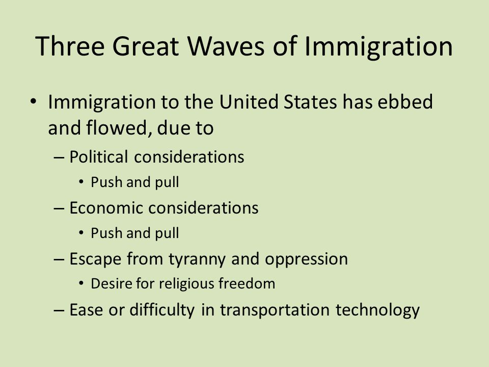 The Second Wave of Immigration 1870 to 1924 Southern & Eastern Europe, Philippines Second Wave of Immigration creates – Vast increase in Catholic population – Vast increase in Catholic ethnic diversity – National Catholic Parishes – Schisms among Catholics over ethnicity – Disputes among Catholics over lay control – Disputes over labor politics – Americanism heresy