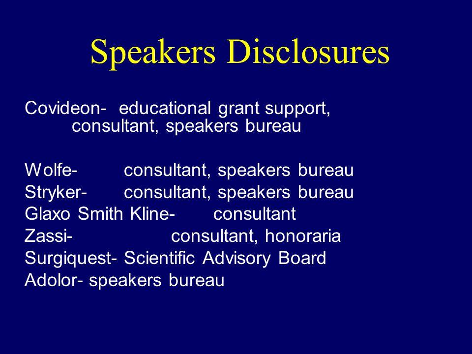 Speakers Disclosures Covideon-educational grant support, consultant, speakers bureau Wolfe- consultant, speakers bureau Stryker- consultant, speakers