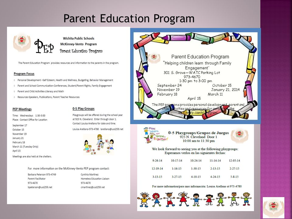 Parent Education Program 1:30 pm to 3:00 pm September 24 October 15 November 19 January 21, 2014 February 18 March 11 April 15 Parent Education Program Helping children learn through Family Engagement 301 S.
