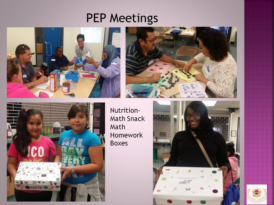 PEP Meetings Nutrition- Math Snack Math Homework Boxes