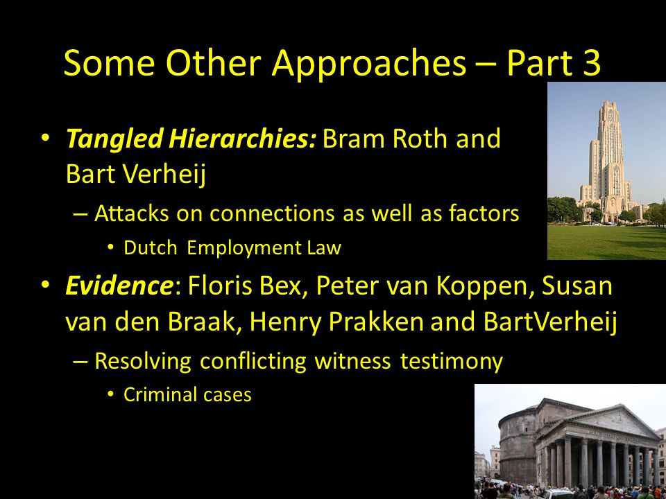 Some Other Approaches – Part 3 Tangled Hierarchies: Bram Roth and Bart Verheij – Attacks on connections as well as factors Dutch Employment Law Evidence: Floris Bex, Peter van Koppen, Susan van den Braak, Henry Prakken and BartVerheij – Resolving conflicting witness testimony Criminal cases