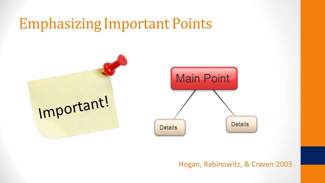 Emphasizing Important Points Hogan, Rabinowitz, & Craven 2003 Important!