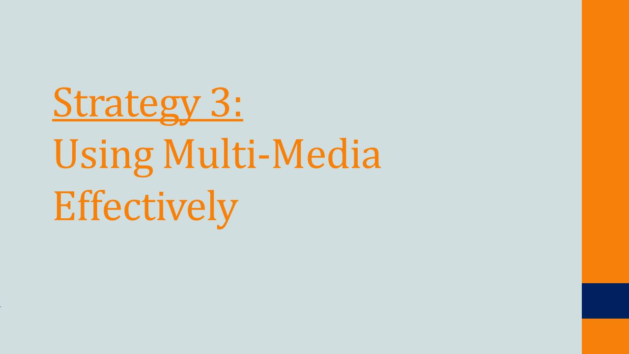Strategy 3: Using Multi-Media Effectively