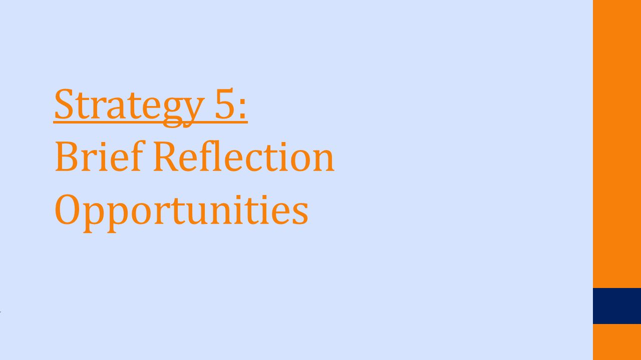 Strategy 5: Brief Reflection Opportunities