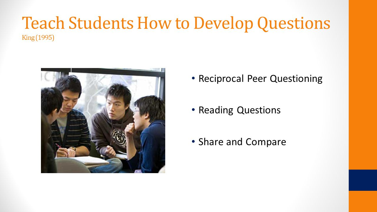 Teach Students How to Develop Questions King (1995) Reciprocal Peer Questioning Reading Questions Share and Compare