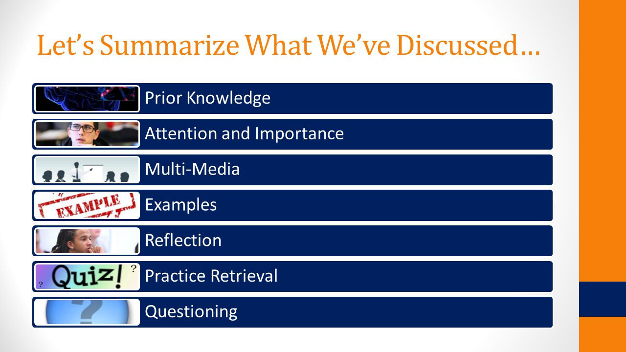 Let's Summarize What We've Discussed… Prior Knowledge Attention and Importance Multi-Media Examples Reflection Practice Retrieval Questioning