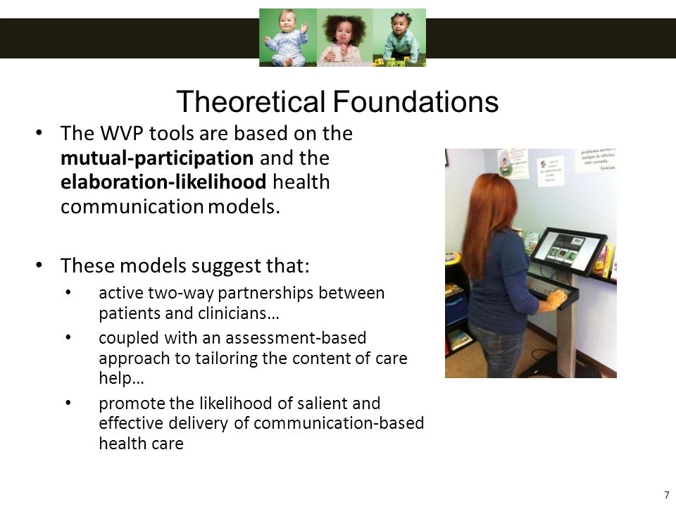 The WVP tools are based on the mutual-participation and the elaboration-likelihood health communication models.