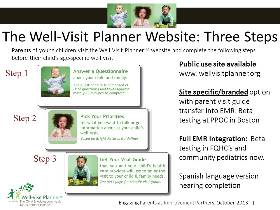 The Well-Visit Planner Website: Three Steps Engaging Parents as Improvement Partners, October, 2013 | 8 Parents of young children visit the Well-Visit Planner TM website and complete the following steps before their child's age-specific well visit: Public use site available www.