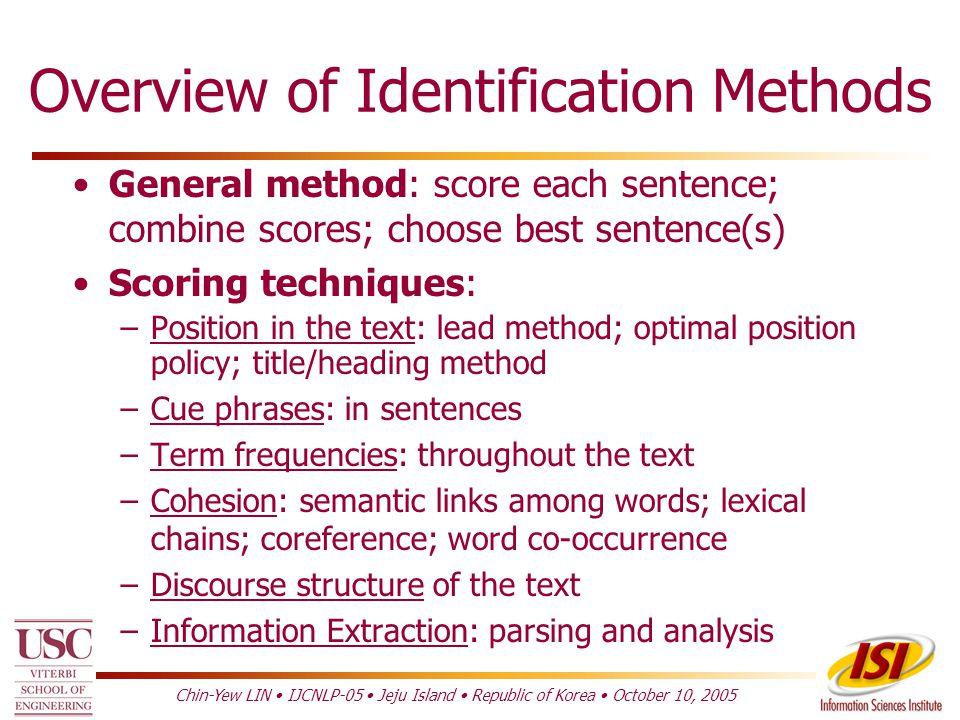 Topic Identification Classic Methods