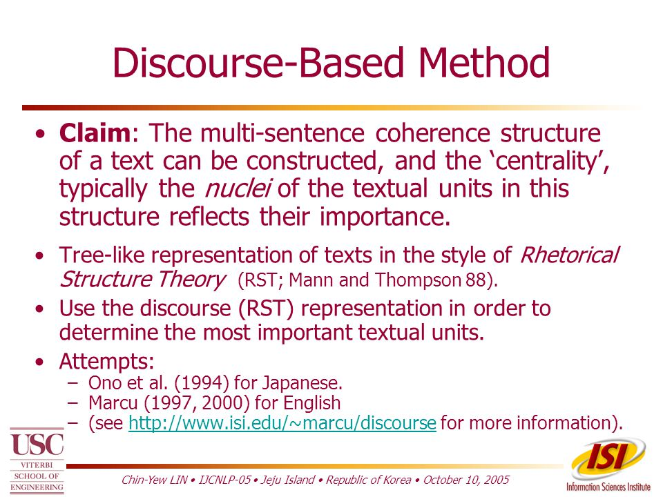 Topic Identification Discourse-Based