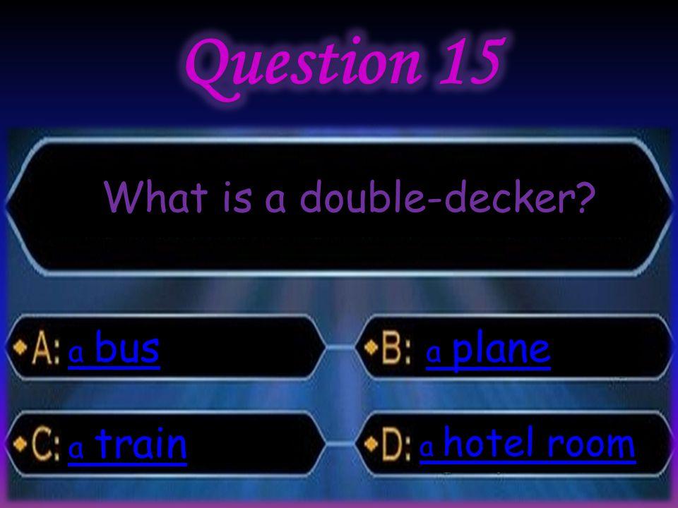 What is a double-decker bus a bus train a train plane a plane hotel room a hotel room