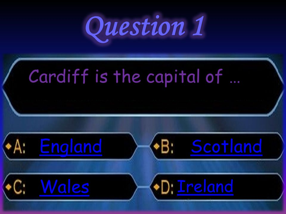 Cardiff is the capital of … England Wales Scotland Ireland