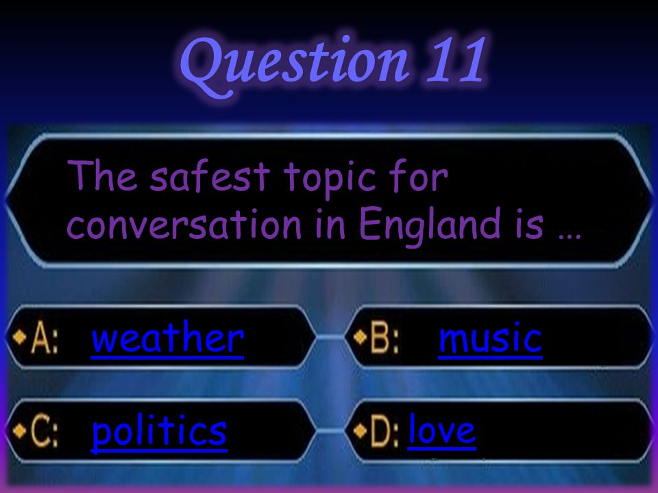 The safest topic for conversation in England is … weather politics music love