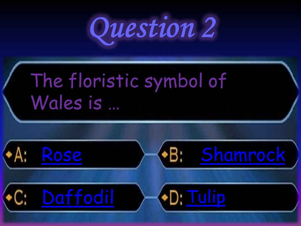 The floristic symbol of Wales is … Rose Daffodil Shamrock Tulip