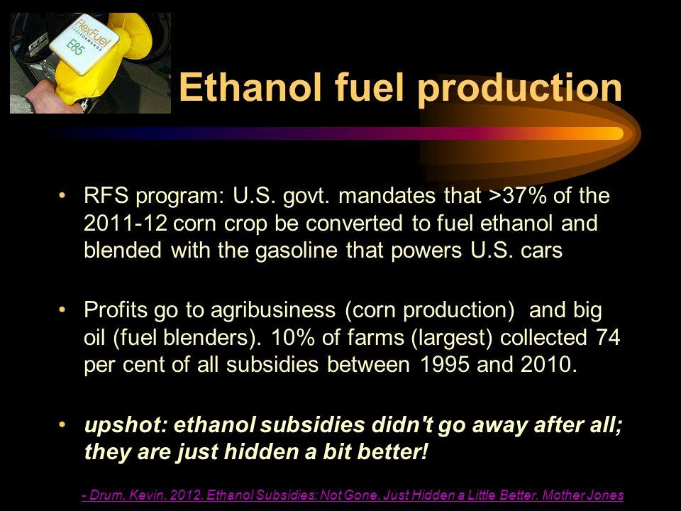 Ethanol fuel production RFS program: U.S. govt.