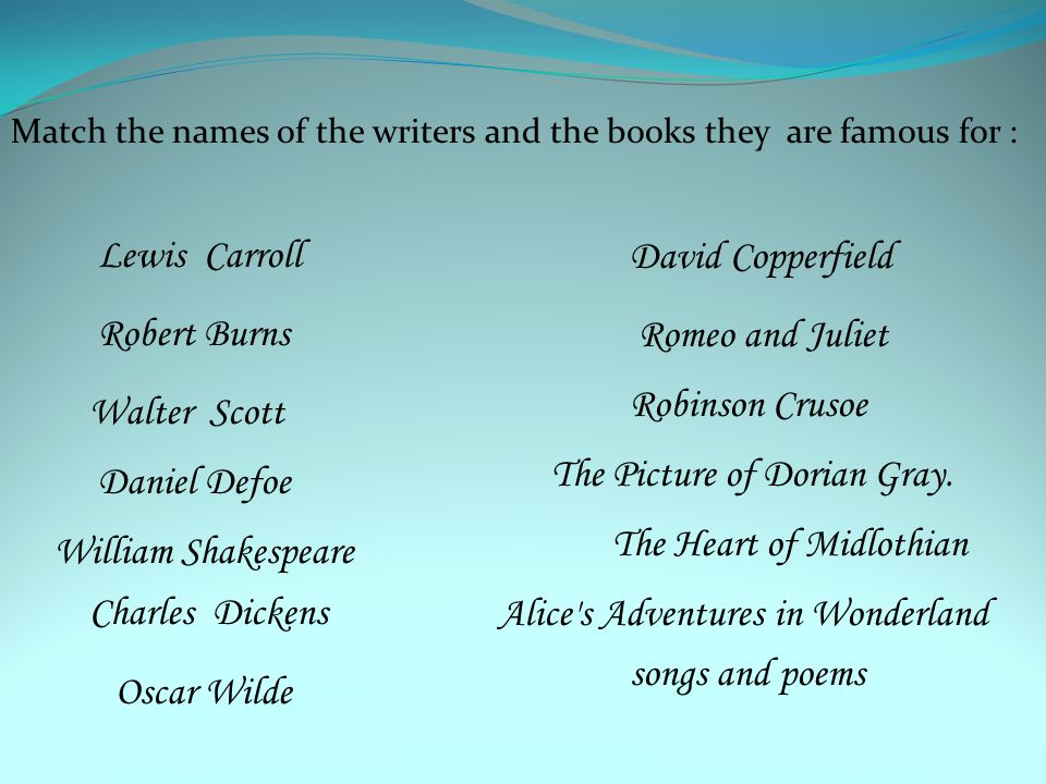 Match the names of the writers and the books they are famous for : William Shakespeare Daniel Defoe Walter Scott Robert Burns Lewis Carroll Oscar Wild