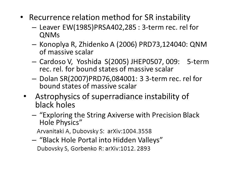 Recurrence relation method for SR instability – Leaver EW(1985)PRSA402,285 : 3-term rec.