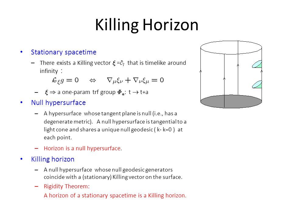 Killing Horizon Stationary spacetime – There exists a Killing vector » =  t that is timelike around infinity : – » ) a one-param trf group © a : t !