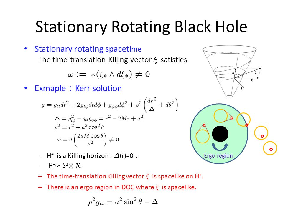 Stationary Rotating Black Hole Stationary rotating spaceti me The time-translation Killing vector » satisfies Exmaple : Kerr solution – H + is a Killing horizon : ¢ (r)=0 . – H + ¼ S 2 £ R – The time-translation Killing vector » is spacelike on H +.