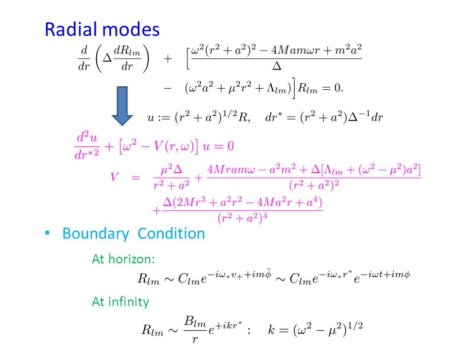 Radial modes Boundary Condition At horizon: At infinity