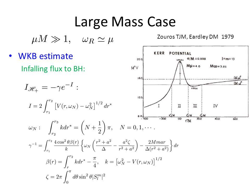 Large Mass Case WKB estimate Infalling flux to BH: Zouros TJM, Eardley DM 1979