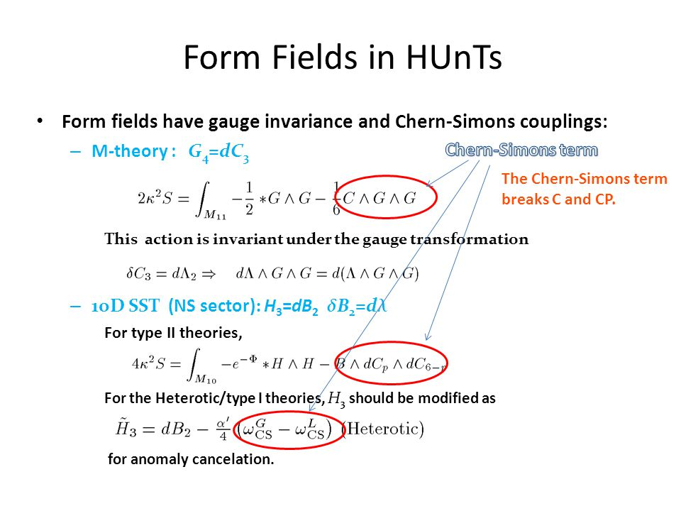 Form Fields in HUnTs Form fields have gauge invariance and Chern-Simons couplings: – M-theory : G 4 =dC 3 This action is invariant under the gauge tra