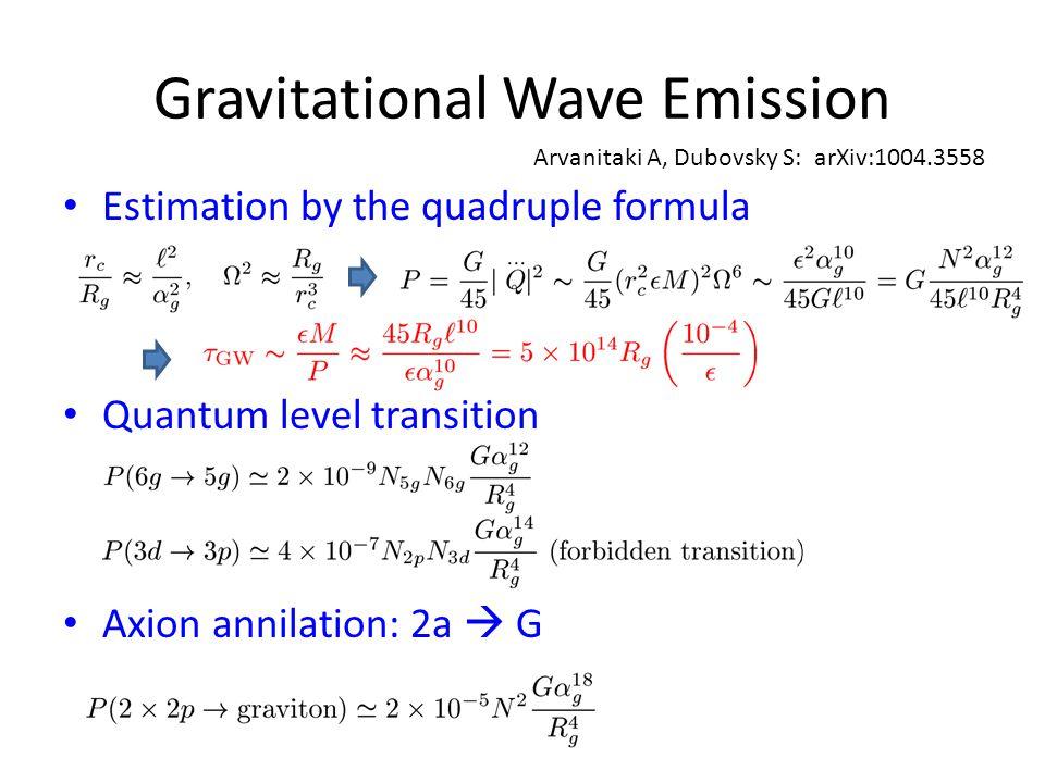 Gravitational Wave Emission Estimation by the quadruple formula Quantum level transition Axion annilation: 2a  G Arvanitaki A, Dubovsky S: arXiv:1004.3558