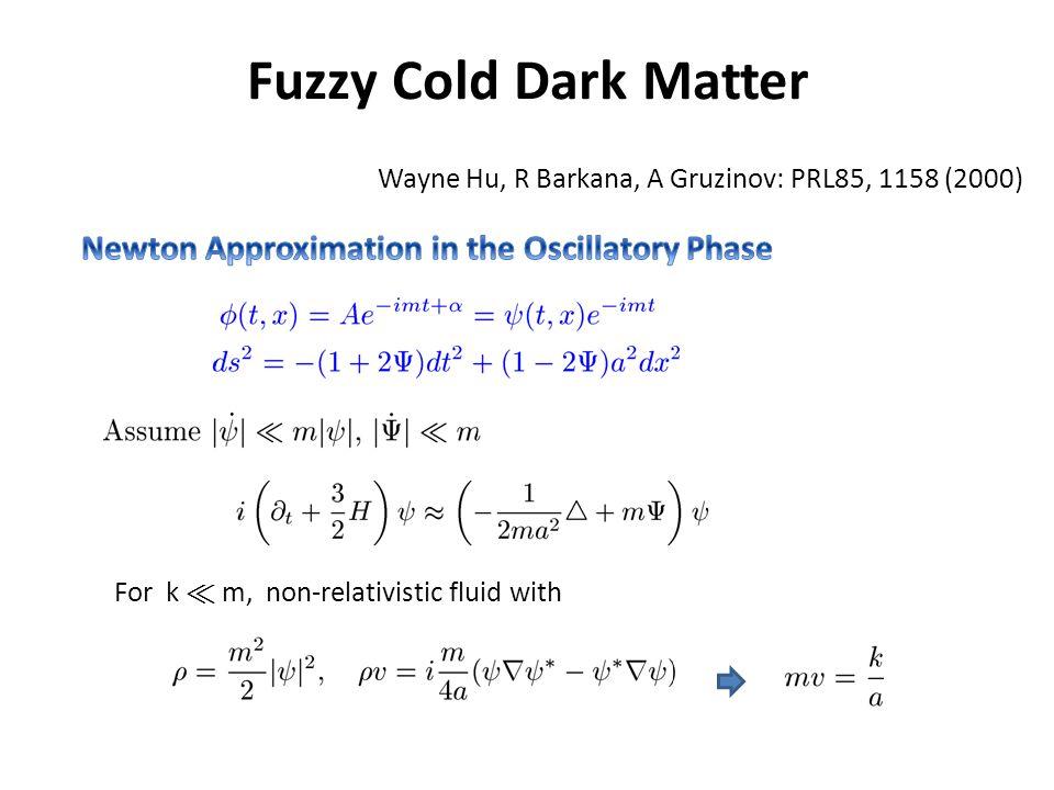 Fuzzy Cold Dark Matter For k ¿ m, non-relativistic fluid with Wayne Hu, R Barkana, A Gruzinov: PRL85, 1158 (2000)