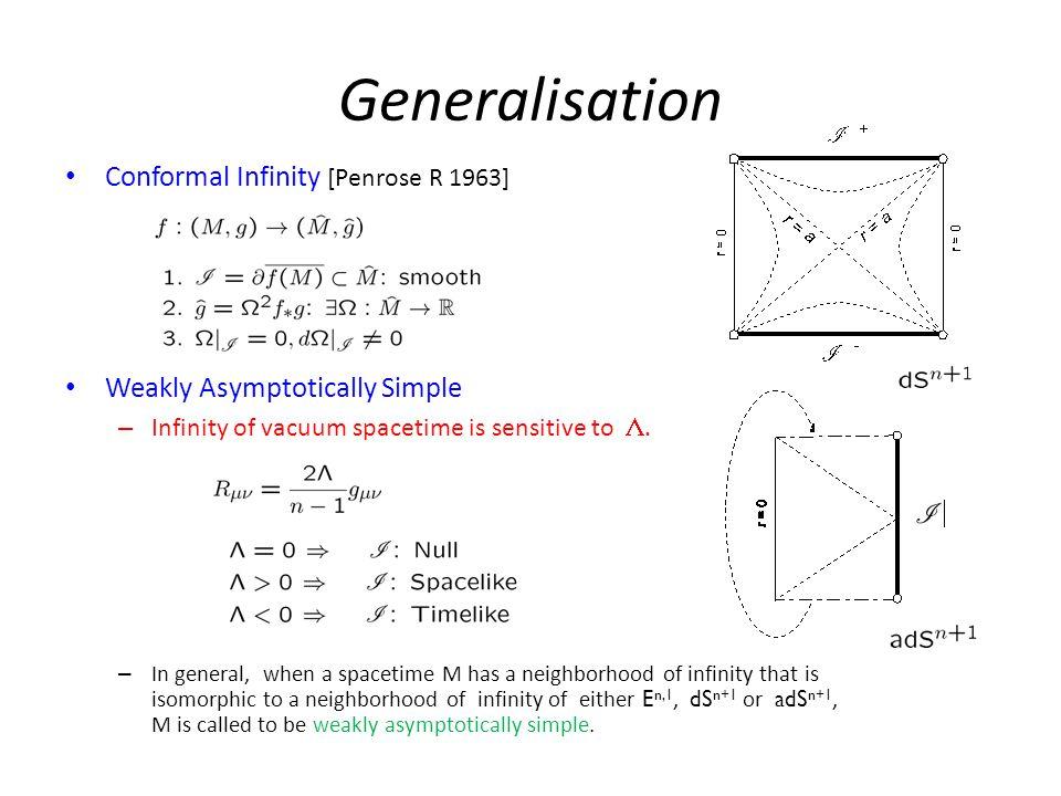 Generalisation Conformal Infinity [Penrose R 1963] Weakly Asymptotically Simple – Infinity of vacuum spacetime is sensitive to .