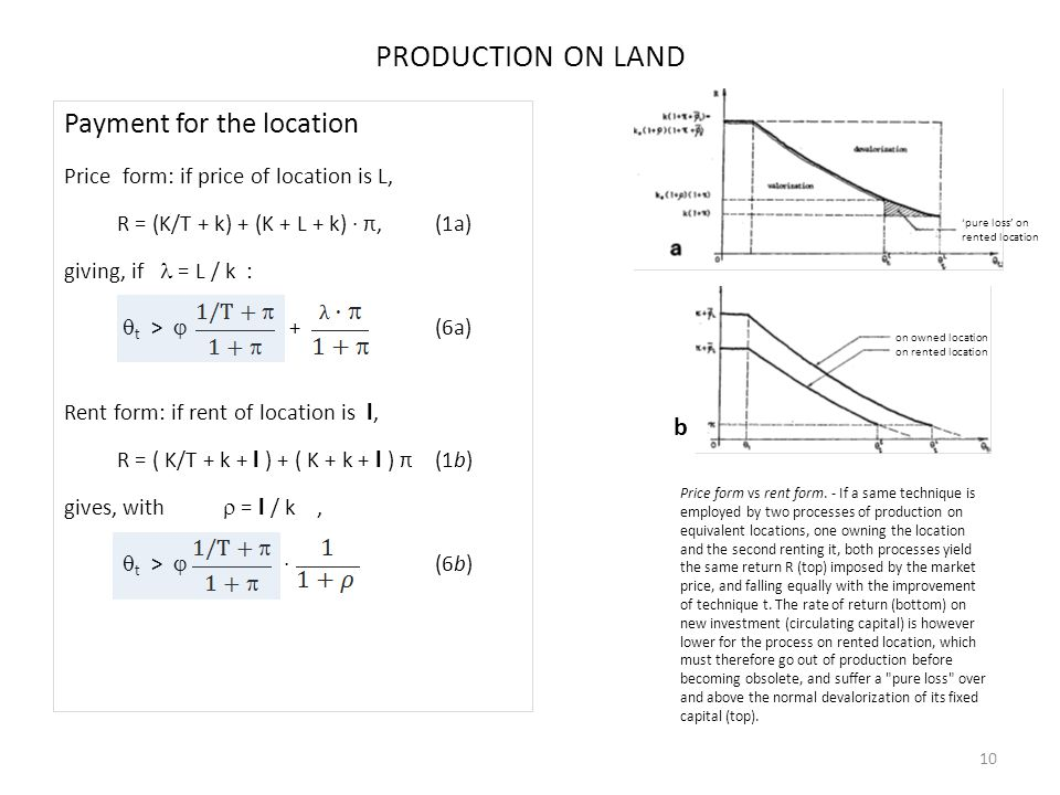b PRODUCTION ON LAND Payment for the location Price form: if price of location is L, R = (K/T + k) + (K + L + k) · π,(1a) giving, if = L / k :  t >  + (6a) Rent form: if rent of location is l, R = ( K/T + k + l ) + ( K + k + l ) π(1b) gives, with  = l / k,  t >  · (6b) 10 Price form vs rent form.