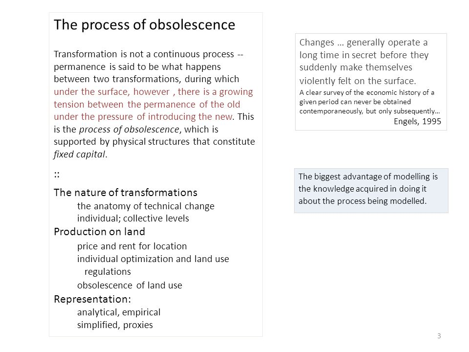 3 The process of obsolescence Transformation is not a continuous process -- permanence is said to be what happens between two transformations, during which under the surface, however, there is a growing tension between the permanence of the old under the pressure of introducing the new.