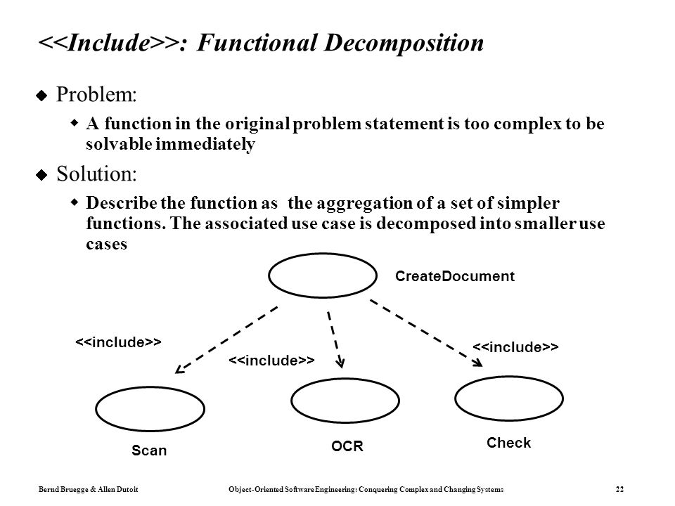 Bernd Bruegge & Allen Dutoit Object-Oriented Software Engineering: Conquering Complex and Changing Systems 22 >: Functional Decomposition  Problem:  A function in the original problem statement is too complex to be solvable immediately  Solution:  Describe the function as the aggregation of a set of simpler functions.