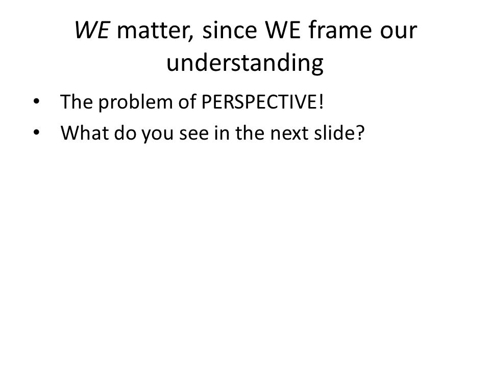 WE matter, since WE frame our understanding The problem of PERSPECTIVE! What do you see in the next slide?