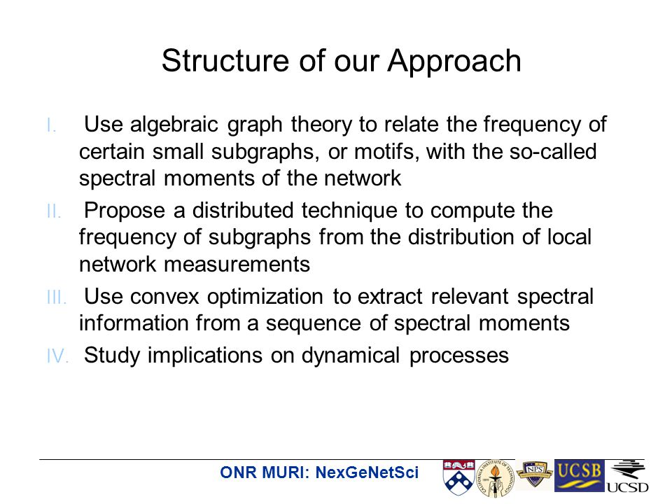 ONR MURI: NexGeNetSci I. Use algebraic graph theory to relate the frequency of certain small subgraphs, or motifs, with the so-called spectral moments