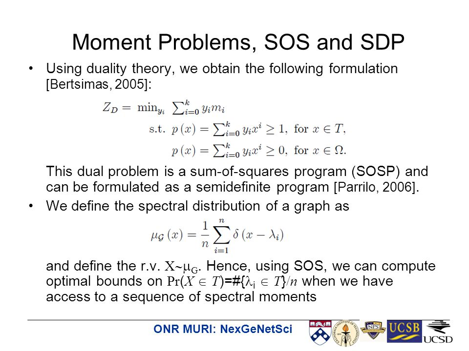 ONR MURI: NexGeNetSci Using duality theory, we obtain the following formulation [Bertsimas, 2005] : This dual problem is a sum-of-squares program (SOSP) and can be formulated as a semidefinite program [Parrilo, 2006].