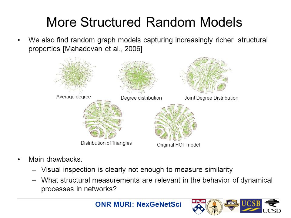 ONR MURI: NexGeNetSci We also find random graph models capturing increasingly richer structural properties [Mahadevan et al., 2006] Main drawbacks: –Visual inspection is clearly not enough to measure similarity –What structural measurements are relevant in the behavior of dynamical processes in networks.