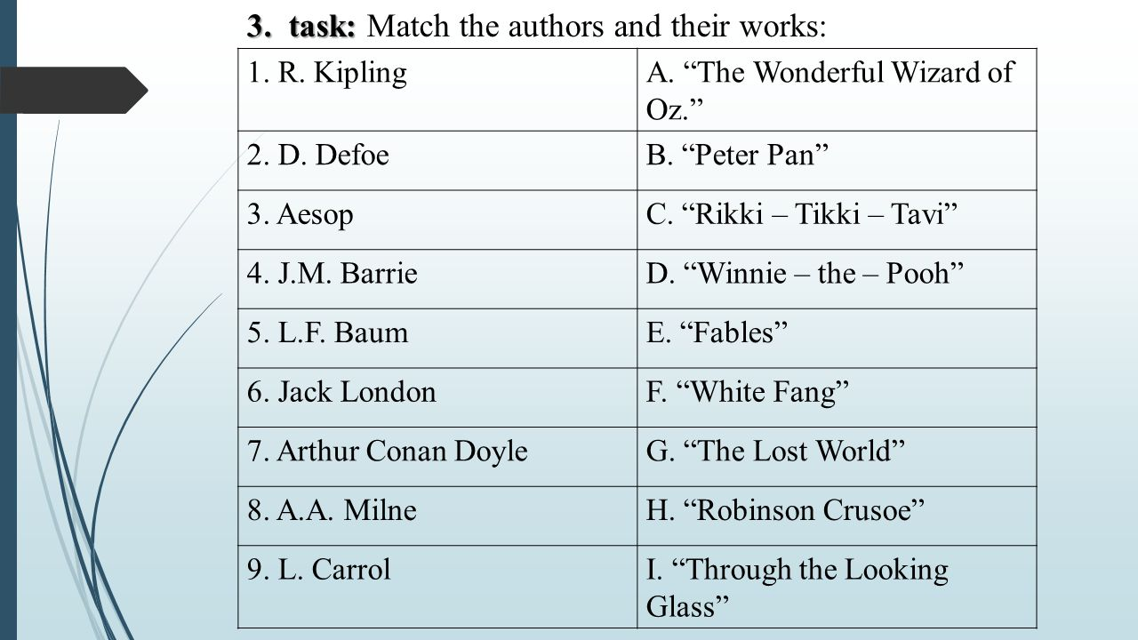 3.task: 3. task: Match the authors and their works: 1.
