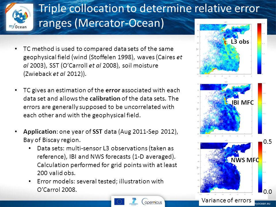 Triple collocation to determine relative error ranges (Mercator-Ocean) TC method is used to compared data sets of the same geophysical field (wind (Stoffelen 1998), waves (Caires et al 2003), SST (O'Carroll et al 2008), soil moisture (Zwieback et al 2012)).