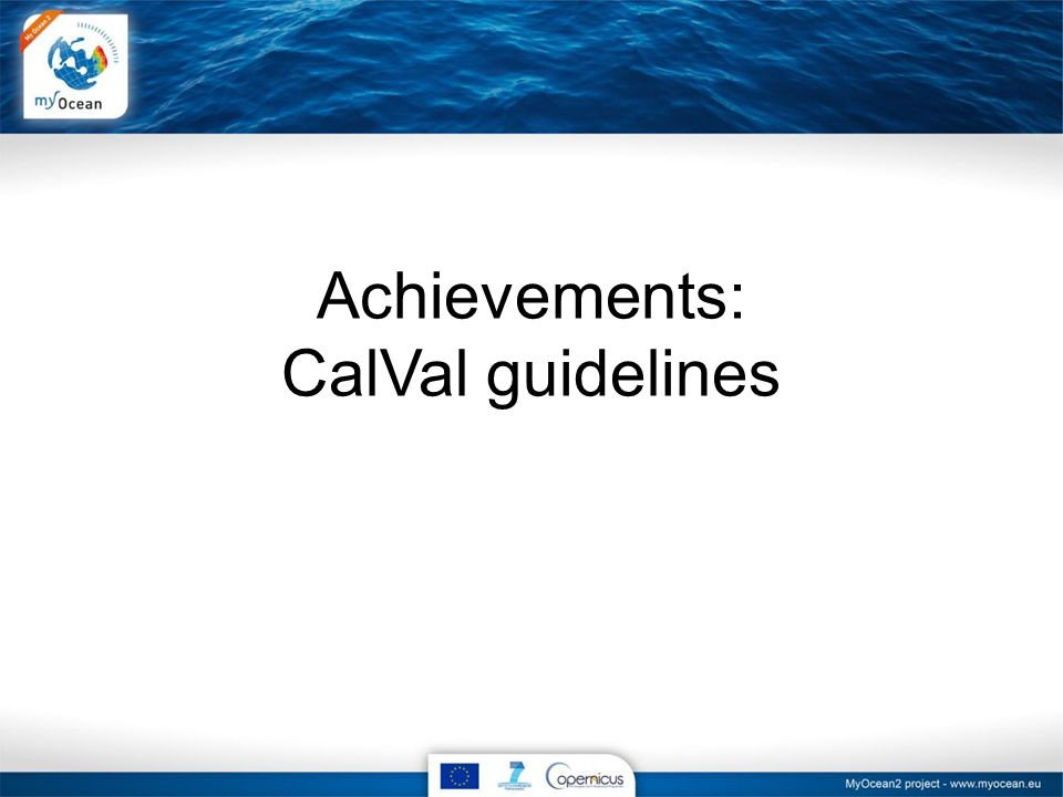 Achievements: CalVal guidelines