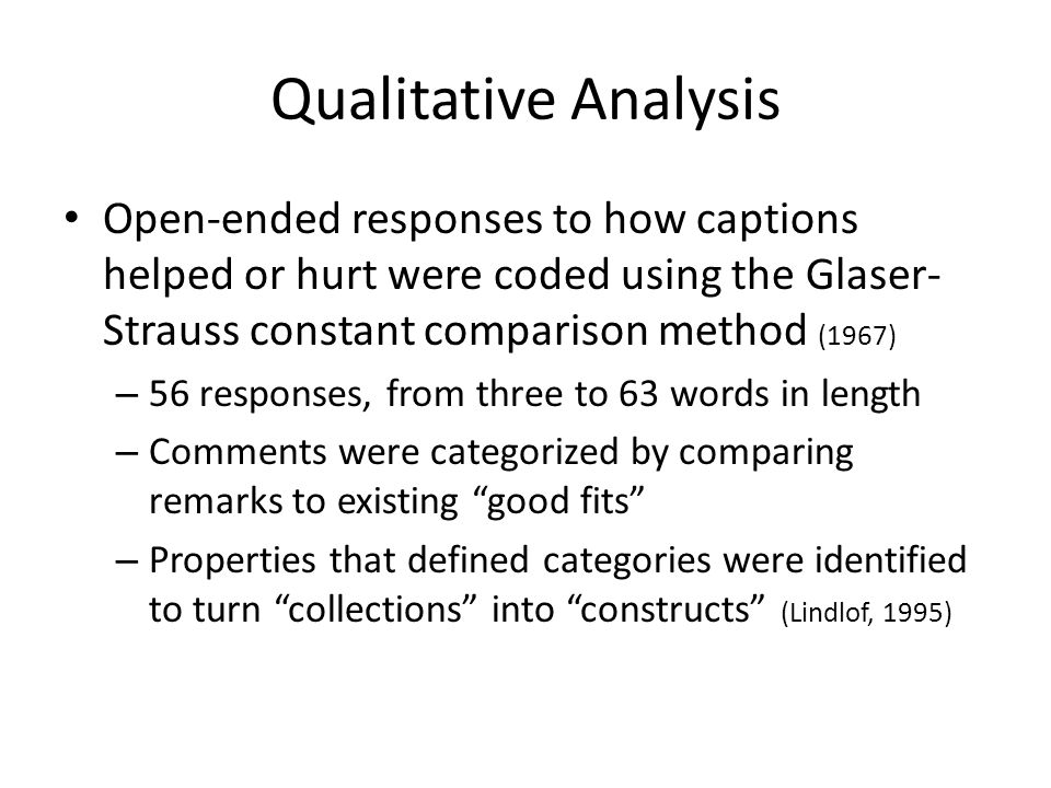 Qualitative Analysis Open-ended responses to how captions helped or hurt were coded using the Glaser- Strauss constant comparison method (1967) – 56 responses, from three to 63 words in length – Comments were categorized by comparing remarks to existing good fits – Properties that defined categories were identified to turn collections into constructs (Lindlof, 1995)