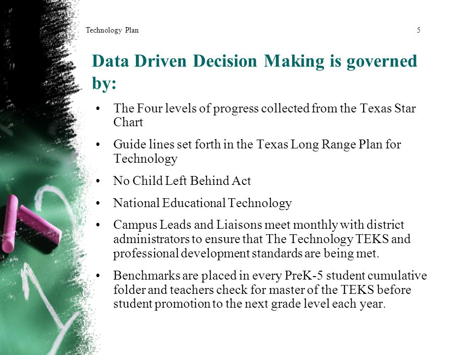 Data Driven Decision Making is governed by: The Four levels of progress collected from the Texas Star Chart Guide lines set forth in the Texas Long Range Plan for Technology No Child Left Behind Act National Educational Technology Campus Leads and Liaisons meet monthly with district administrators to ensure that The Technology TEKS and professional development standards are being met.
