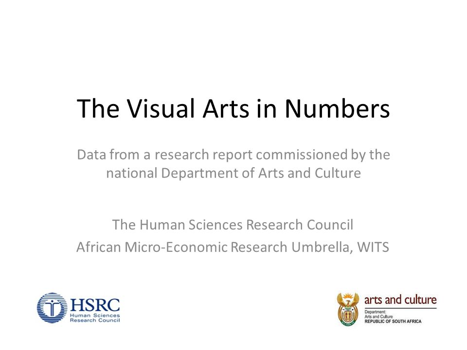 The Visual Arts in Numbers Data from a research report commissioned by the national Department of Arts and Culture The Human Sciences Research Council